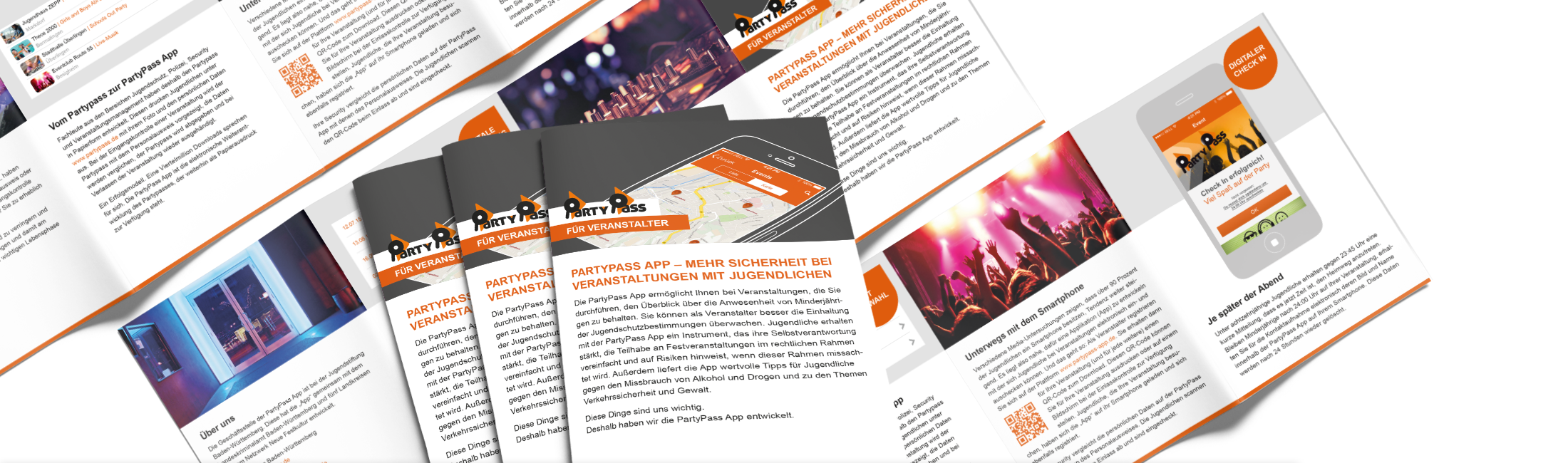 Desktop Ansicht: Party Pass App Flyer