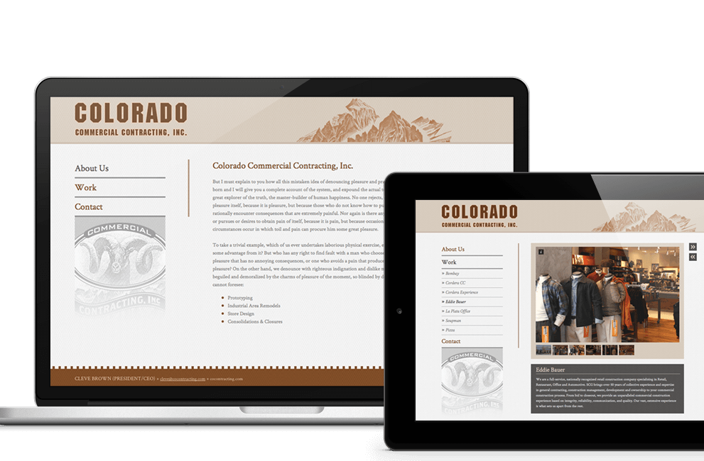 Tablet Ansicht: Colorado Commercial Contracting Inc. Headerbild